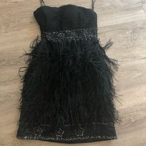 Sue Wong strapless feather dress size 8